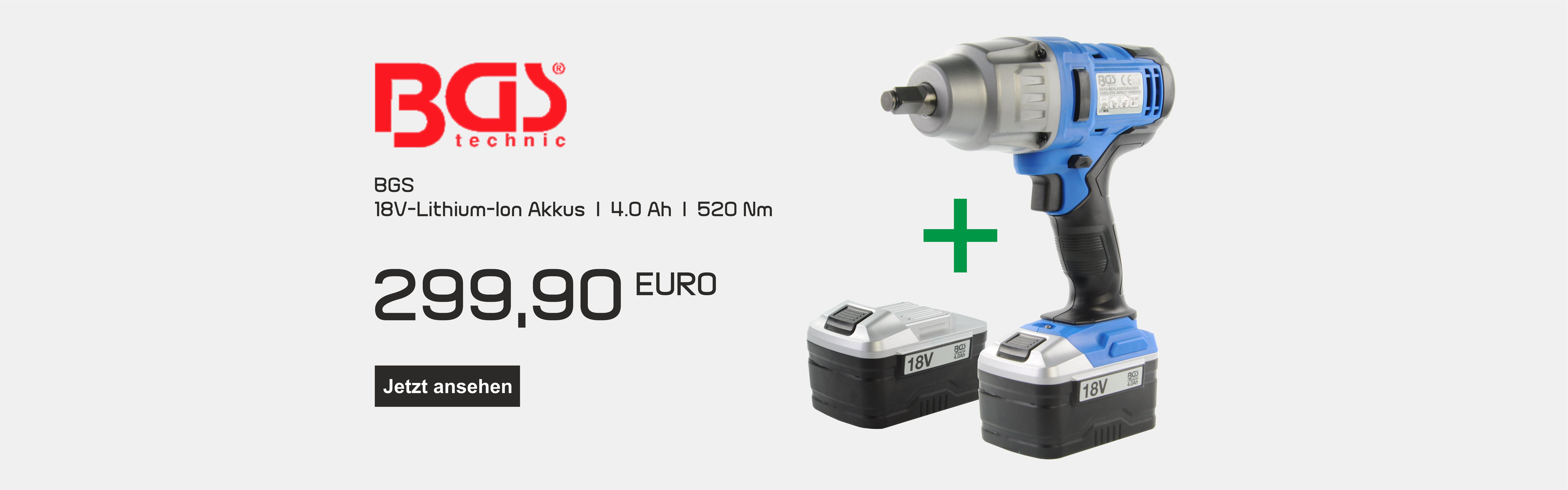 BGS 18V Lithion-Ion Schlagschrauber 4Ah 520 Max. Nm .